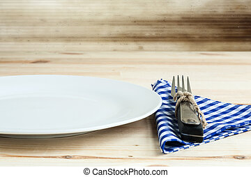 Dishes with fork and knife