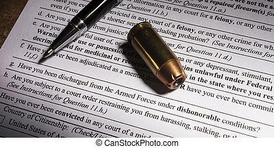 dishonorable, descarga, pregunta, en, arma de fuego, transferencia, papeleo