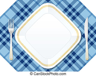 dishware - Dishware on red tablecloth. Vector illustration.