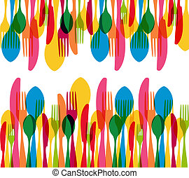 Dishware elements seamless pattern - Colorful cutlery...