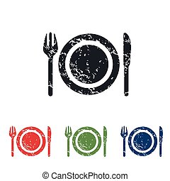 Dishware grunge icon set