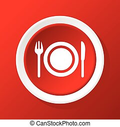 Dishware icon on red