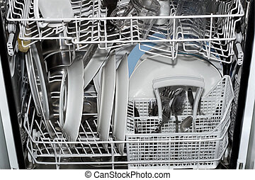 dishware - Dishes in the open dishwasher , Inside clean...