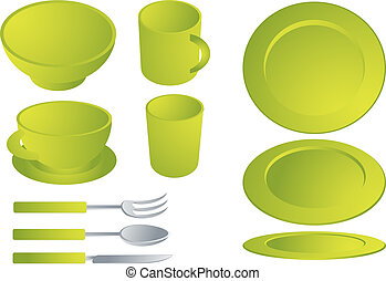Dishware set - Set of various plates and cultery, dishware...