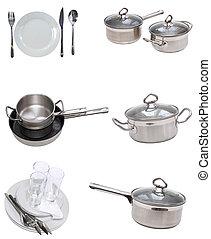 dishware, utensil., anteojos, placas, collage