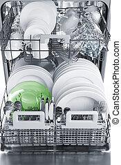 Inside dishwasher, soft focus, vertical image