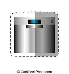 dishwasher appliance home cut line vector illustration eps...