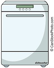 Close up modern white dishwasher