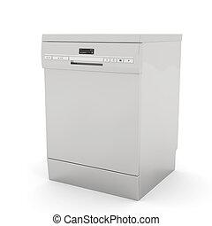 Freestanding dishwasher on white background