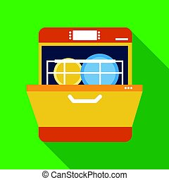 Dishwasher icon in flate style isolated on white background. Kitchen symbol stock vector illustration.