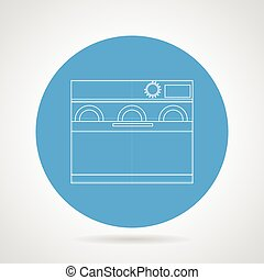 Dishwasher machine flat line vector icon
