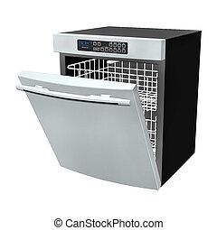 Dishwasher - 3D digital render of a dishwasher isolated on...