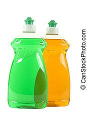 dishwashing, bottiglie, due, liquido