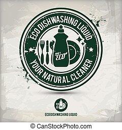 dishwashing flüssigkeit, eco, briefmarke, alternative,...