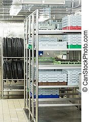 Dishwashing Racks and Trays in commercial kitchen