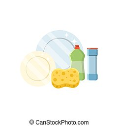 Dishwashing set vector illustration in a flat style isolated on