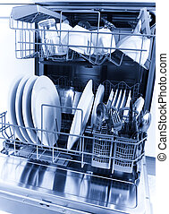 dishwashing - Cleaned dishes in a dishwasher
