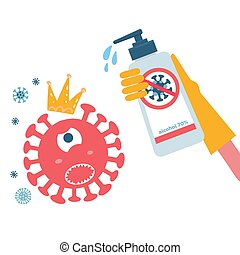 Disinfection coronavirus. Stop 2019-nCoV. Hand in glove kills a virus bacterium character with sanitizer bottle. Disinfectant solution. Vector childish cartoon illustration . Prevention epidemic.