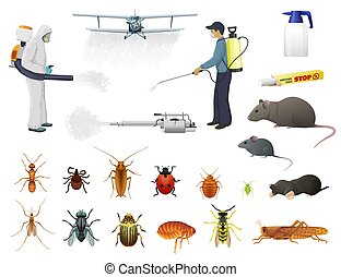 Disinfection, pest control, vector men in protective suits and airplane spraying pesticides against insects. Isolated bug, flea and cockroach, ant, tick and wasp extermination. Cold fogger with smoke