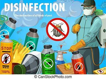 Disinfection vector poster. Insect control service - ...