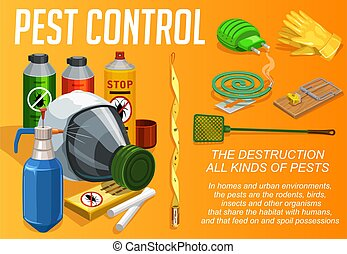 Pest control service, vector poster, domestic disinsection and extermination. Urabn deratization, cockroaches, bugs, ticks and sanitary disinfection, flies mosquitoes and insects fumigation