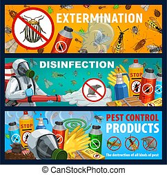 Disinsection vector banners, insect and rats control repellent products. Exterminator spraying insecticide with cold fogger against insects and rodents. Pest extermination, deratization toxic remedy