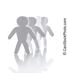 disinserimento, carta, gruppo, catena, persone