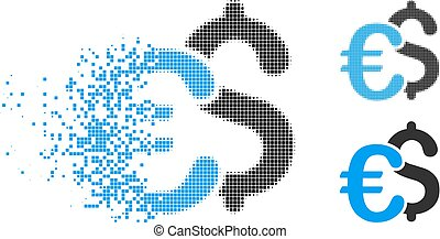 Disintegrating Dot Halftone Euro And Dollar Symbols Icon -...