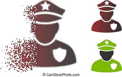 Disintegrating Dot Halftone Police Officer Icon