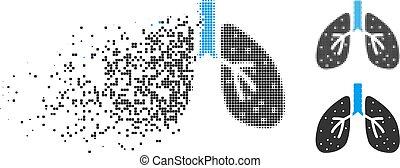 Disintegrating Dot Halftone Respiratory System Icon -...