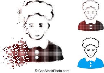 Disintegrating Pixel Halftone Blonde Woman Icon
