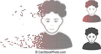 Disintegrating Pixel Halftone Brunet Man Icon