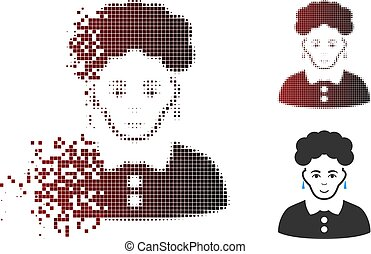 Disintegrating Pixel Halftone Brunette Woman Icon