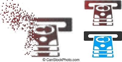 Disintegrating Pixel Halftone Cashpoint Icon - Vector...