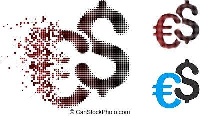 Disintegrating Pixel Halftone Dollar And Euro Symbols Icon -...