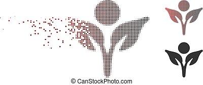 Disintegrating Pixel Halftone Eco Man Icon