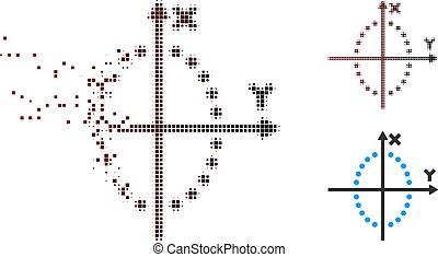 Disintegrating Pixel Halftone Ellipse Plot Icon