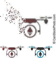 Disintegrating Pixel Halftone Ethereum Copter Icon
