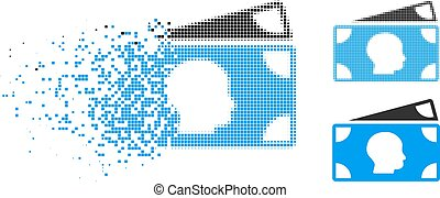 Disintegrating Pixel Halftone Icon