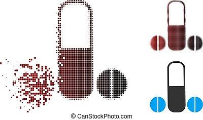 Disintegrating Pixel Halftone Male Potence Medication Icon