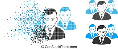 Disintegrating Pixel Halftone Manager Group Icon with Face...