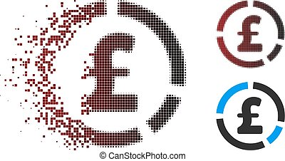 Disintegrating Pixel Halftone Pound Financial Diagram Icon -...