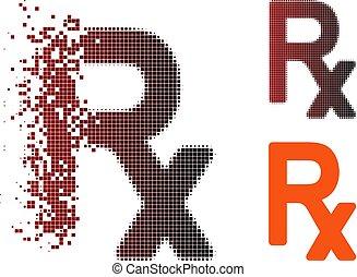 Disintegrating Pixel Halftone Prescription Symbol Icon