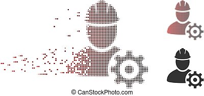 Disintegrating Pixel Halftone Service Man Icon