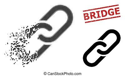 Disintegrating Pixelated Chain Icon and Textured Bridge Stamp