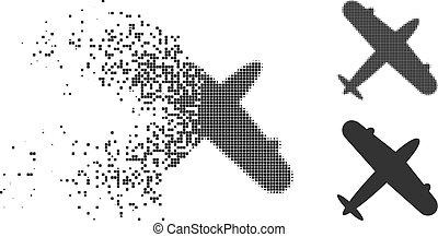 Disintegrating Pixelated Halftone Aeroplane Icon