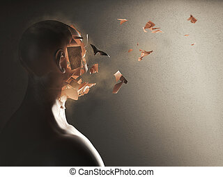 Disintegration of the soul. 3D Rendering - 3D Rendering of...