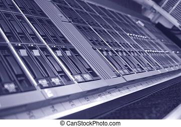 Disk array - A close-up angled photo of a modern disk array...