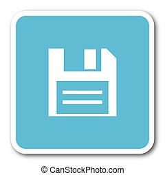 disk blue square internet flat design icon