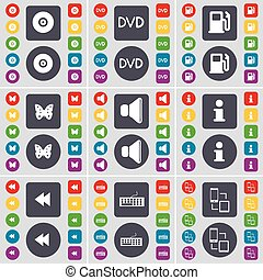 Disk, DVD, Gas station, Butterfly, Sound, Information, Rewind, Keyboard, Connection icon symbol. A large set of flat, colored buttons for your design. Vector